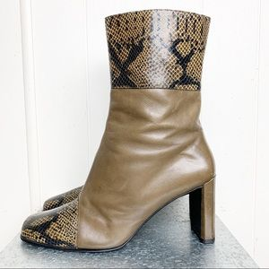 Claudina Olive Leather & snakeskin Booties